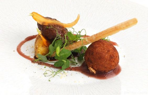 Pork cheek with crispy ham hock bon bon, crushed swede and mustard apple compote - Geoffrey Smeddle