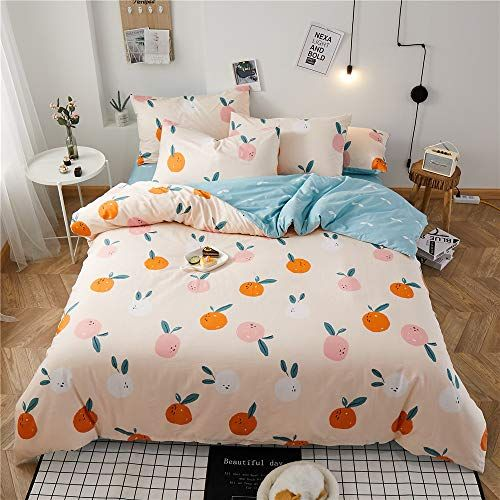 Fruits Queen Comforter Cover Orange Teens Queen Duvet Cover Premium Cotton Girls Bedding Sets Full With 4 Co Girls Duvet Covers Kids Comforters Toddler Bed Set