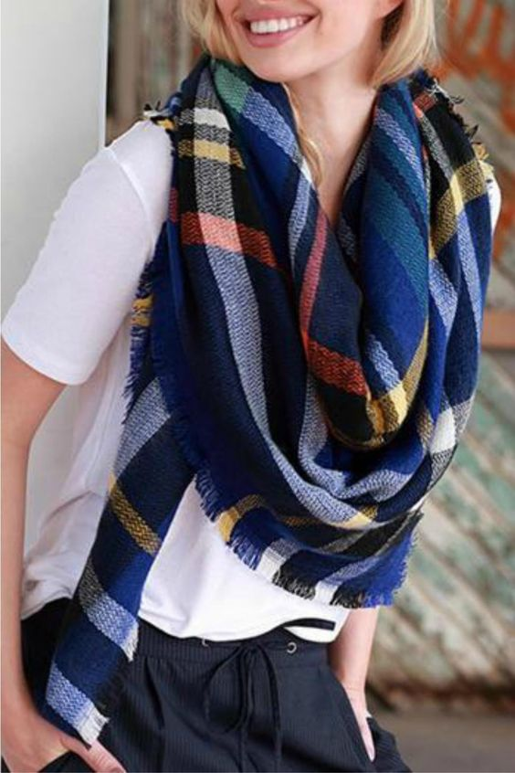Love this blue plaid blanket scarf