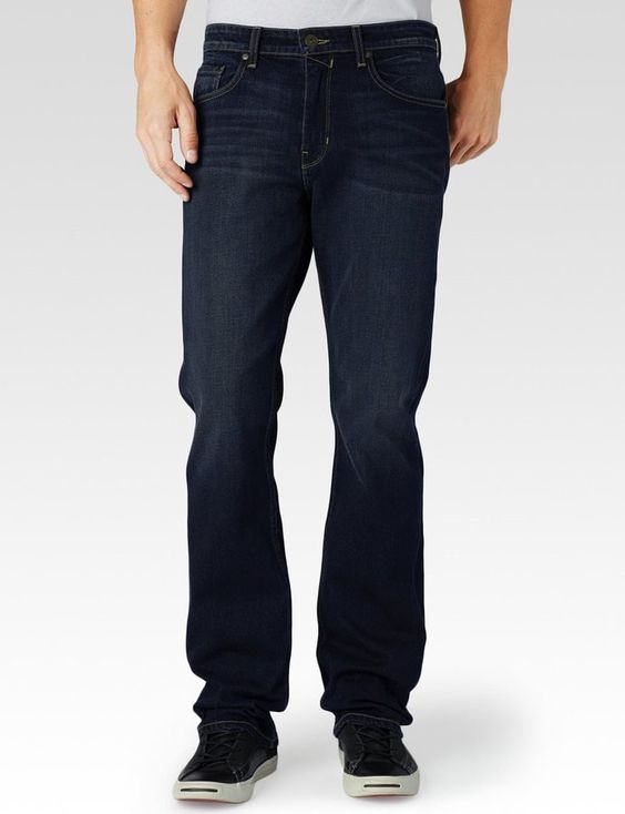 A classic straight leg jean designed for everyday comfort. It's relaxed through the hips and thighs, and has a wider leg opening. This pair comes in a dark wash with subtle whiskering for a look that can easily go from day to night. Finished with a zip fly, single-button closure, and back patch pockets with...  Price : 199.00$