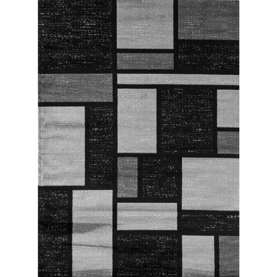 Contemporary Modern Boxes Design Gray 5 ft. 3 in. x 7 ft. 3 in. Indoor Area Rug