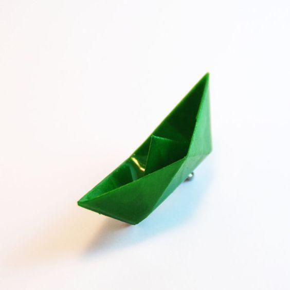 Bateau vert - Broche