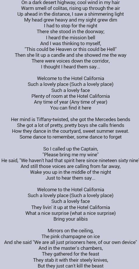 The Eagles Hotel California Great Song Lyrics Music Lyrics Lyrics