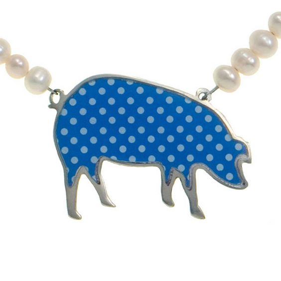 Polka Dot Pig Pearl Necklace / Blue