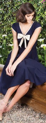 1940's Style Navy Blue Sailor Swing Dress With Tan Bow $145.00 http://www.vintagedancer.com/1940s/1940s-womens-clothes/