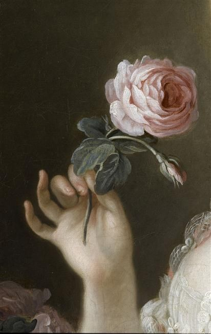 Detail from a portrait of Marie-Joséphine-Louise de Savoie, comtesse de Provence after François-Hubert Drouais. 18th century.: