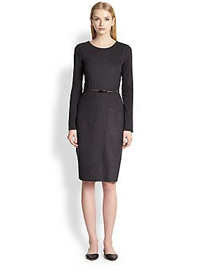 Max Mara Crusca Belted Wool Dress