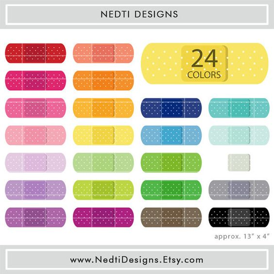 24 Band Aid Clipart Set 1 Colorful Bandage Color Clip Art Png Printable Planner Supplies Instant Download By Nedtidesigns Clip Art Free Clip Art Band Aid