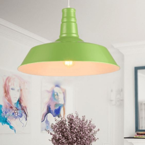 lime green industrial barn light, pantone greenery, spring green, apple green, lime green, bright green: