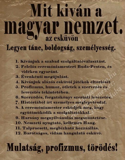 Mit kíván a Magyar Nemzet - az esküvőn. A menyasszonyok-vőlegények elhíresült 12 pontja.