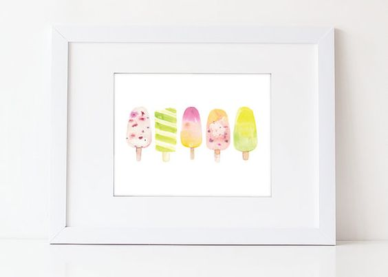 Ice Cream Art - Watercolor Art Print - Food Art Print - Kitchen Art - Summer - Home Decor - Various Sizes