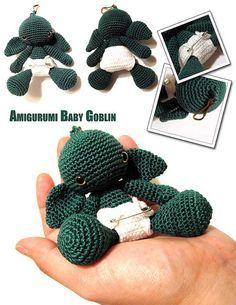 this crocheted amigurumi baby goblin is adorable!- without nappy!