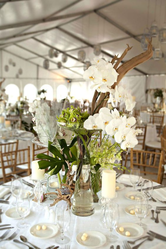 Driftwood centerpiece orchids and centerpieces on pinterest for Driftwood table centerpieces