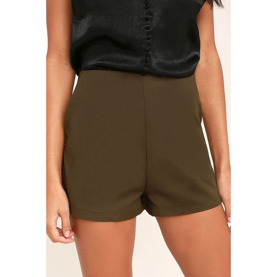 Always in Love Olive Green High-Waisted Shorts ($38) ❤ liked on ...