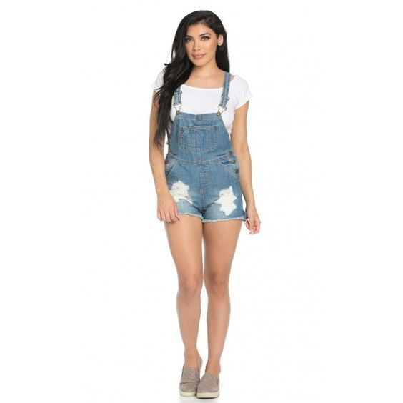 Premium Denim Distressed Pinafore Overalls ($35) ❤ liked on Polyvore featuring jumpsuits, denim bib overalls, bib overalls, white overalls, distressed overalls and white jumpsuit