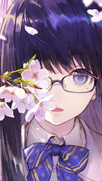 Anime School Girl Glasses Cherry Blossom 4k Click Image For Hd Mobile And Desktop Wallpaper 3840x2160 1920x1080 Anime School Girl Anime Anime Wallpaper