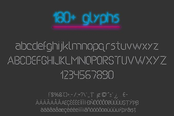 Neon Font File Images