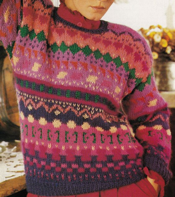 Vintage Knitting Pattern Instructions to Make a Ladies Fair Isle Jumper Sweater