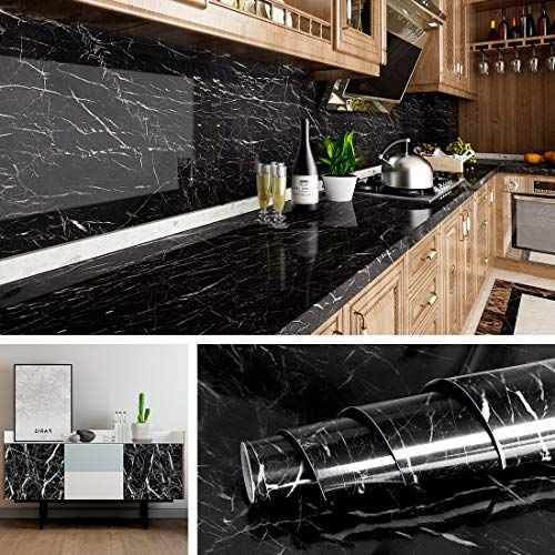 Livelynine Black Marble Wall Paper For Kitchen Counter Top Covers Peel And Stick Wallpaper Bathroom Granite Wall Marble Wallpaper Kitchen Wallpaper Marble Wall