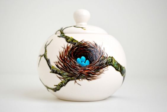 Hand Painted Porcelain Sugar Bowl With Little Bluebird Eggs In A Nest On A Tree Branch - One Of A Kind by Mary Elizabeth Arts on Gourmly