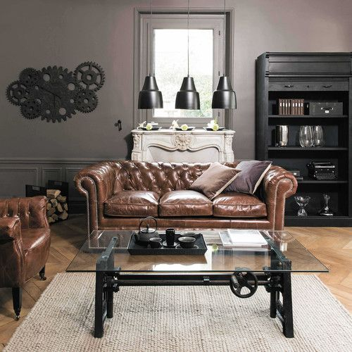 Canap convertible capitonn chesterfield 3 places en cuir - Canape chesterfield cuir occasion ...