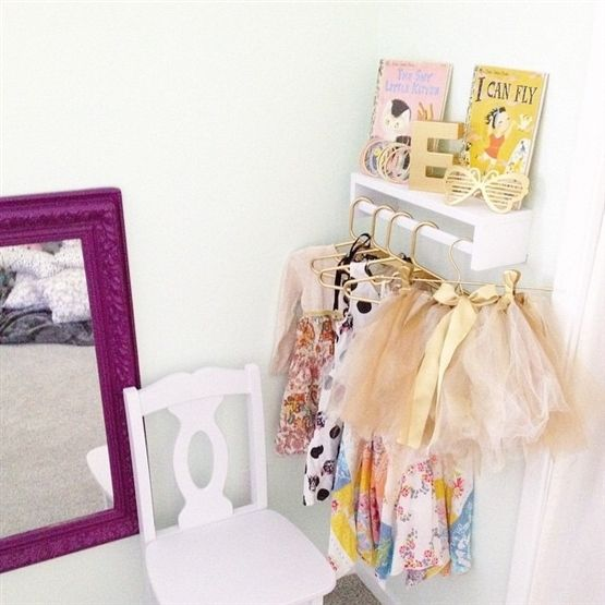 I used an IKEA BEKVÄM spice rack upside down and painted white for a sweet little dress up corner in my toddler's bedroom.