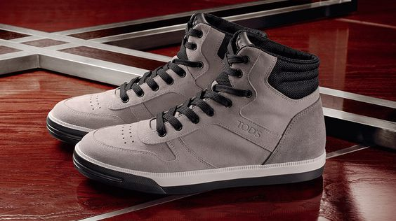 Tod's Men's Autumn Winter 2013-2014 Collection. Cinder gray #hi-top #sneakers crafted from supple suede, with padded ankle and contrasting laces.