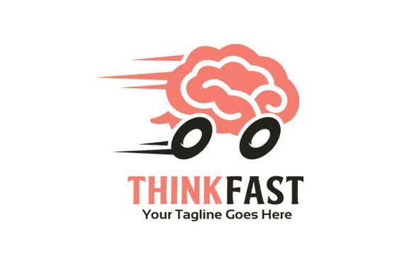 Think Fast/ Brain Logo Template by gunaonedesign on Creative Market