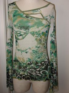 ANAC Oasis Green and Teal Blouse Top Long Sleeves