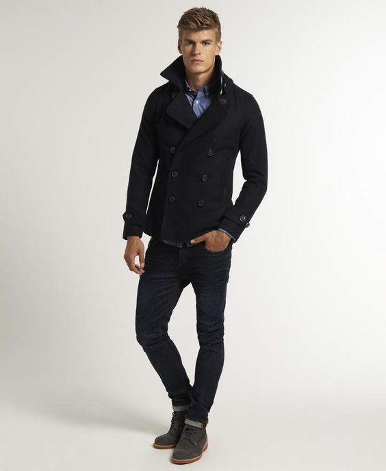 Superdry Commodity Slim Pea Coat. Men's Fall Winter Fashion