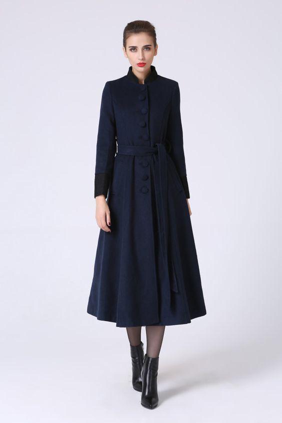 Long trench coat navy coat elegant coat wool coat warm coat