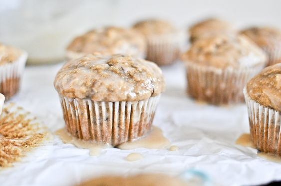 Whole Wheat Banana Spice Muffins with Brown Butter Glaze.