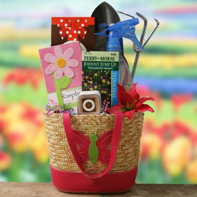 Hand bags water bottle flowers and ipod on pinterest for Gardening tools gift basket
