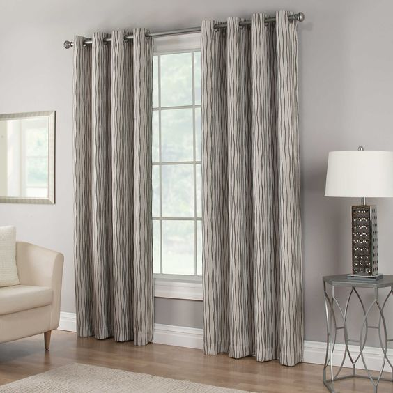 Waterfall 95-Inch Grommet Top Lined Window Curtain Panel in Grey ...