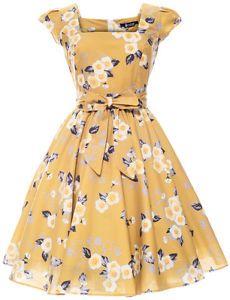 LADY VINTAGE SWING DRESS in 19 DIFFERENT PRINTS *50s ROCKABILLY RETRO* SIZE 8-22   eBay
