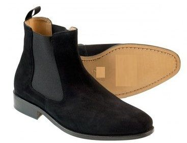 Handmade mens fashion Chelsea suede leather boots Men's black ...