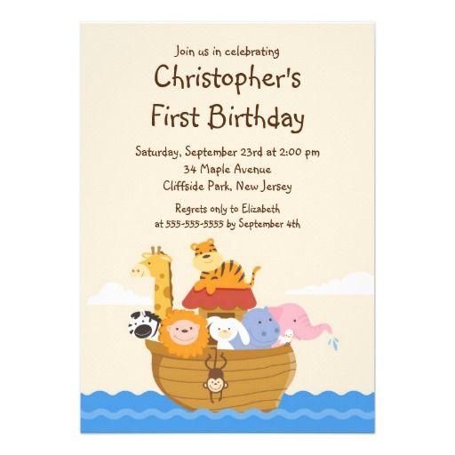 Cute Noah's Ark Baby Animals Birthday Party Custom Announcements