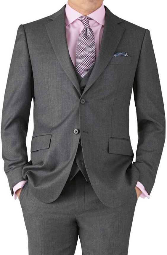 Charles Tyrwhitt Mid Grey Slim Fit Twill Business Suit Wool Jacket Size 36