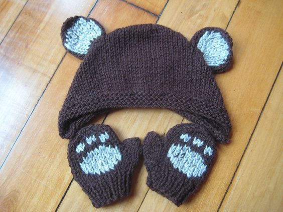 Ravelry: Bear and Panda Hat and Mitts pattern by Linda Cyr Baby Mittens - K...