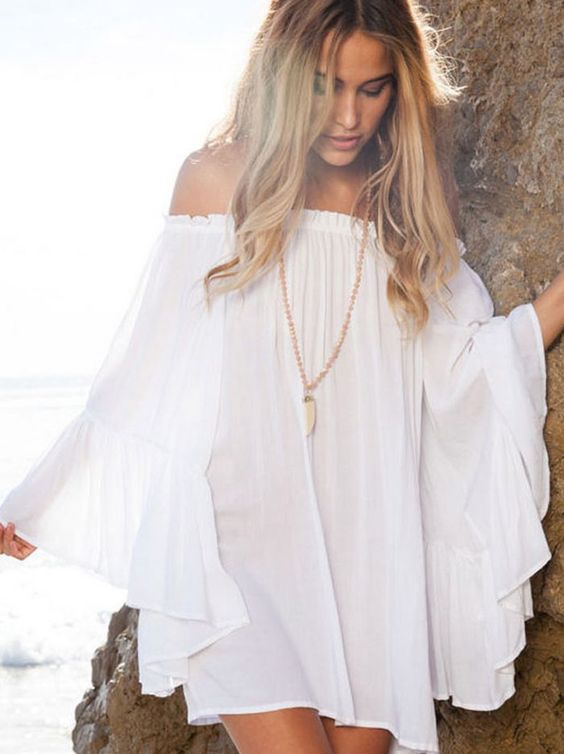 Off Shoulder Boho Chiffon Summer Dress
