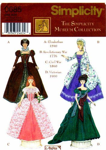 Simplicity 0685 Barbie Fashion Doll Museum Collection Gown Sewing Pattern Simplicity,http://www.amazon.com/dp/B008TFDPKA/ref=cm_sw_r_pi_dp_kyISsb013FZJS2Z9