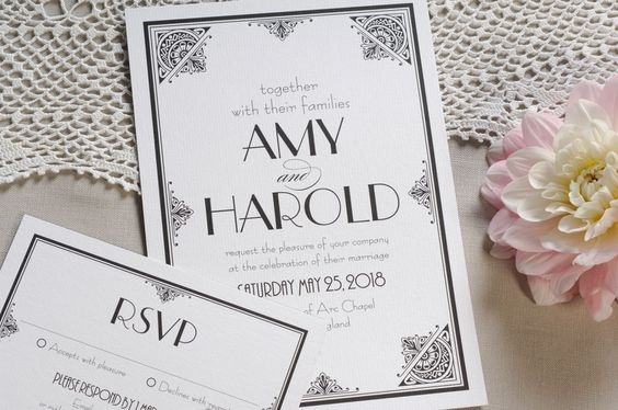 Art Deco wedding invitation  RSVP by LattitudeCreative on Etsy