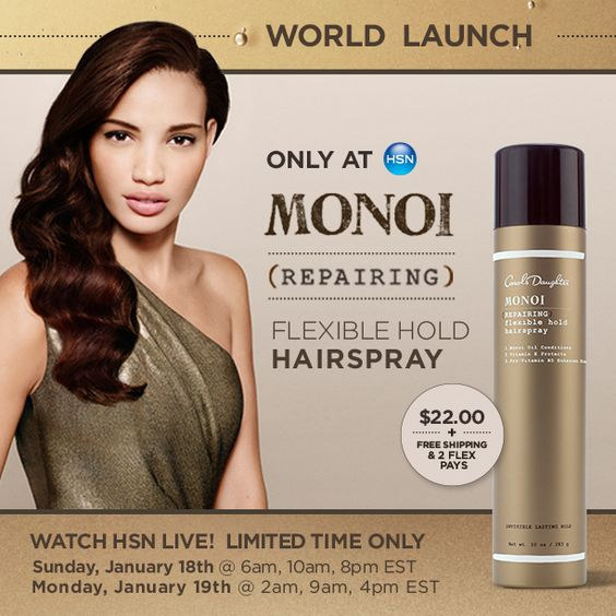 Shop now: http://gohsn.co/NCJG  Watch our incredible founder Lisa Price on 1/19 to get the exclusive on our NEW Monoi Repairing Flexible Hold Hairspray and plenty more Monoi Magic!