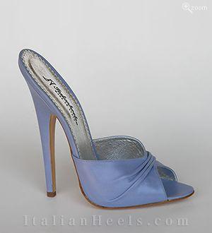 ItalianHeels.com: slippers: Libera 2401 - 6'  stiletto Light Blue Slippers