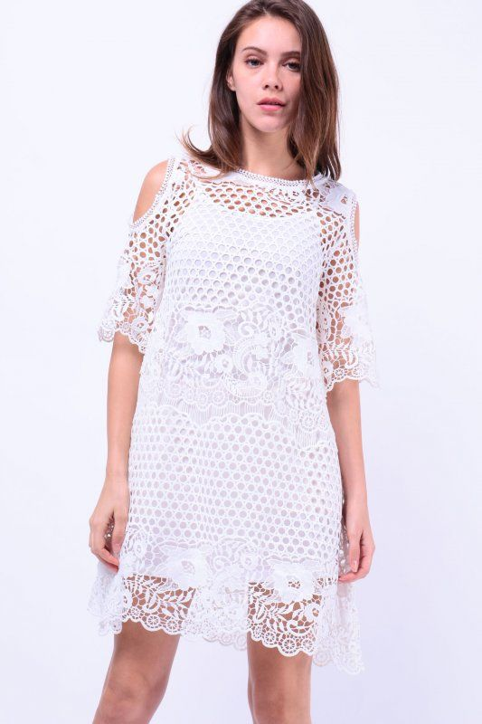Two Piece Cut-Out Shoulder Crochet Dress (White) S$ 56.00