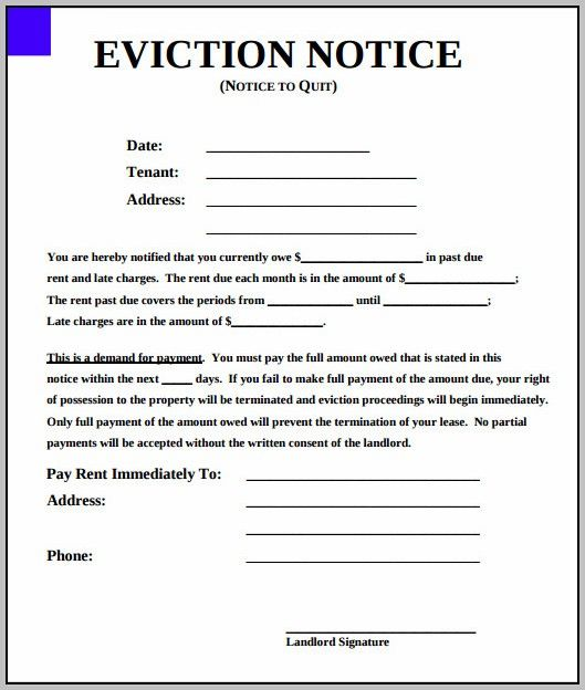 Eviction Notice Template New York State Alaska In 2019