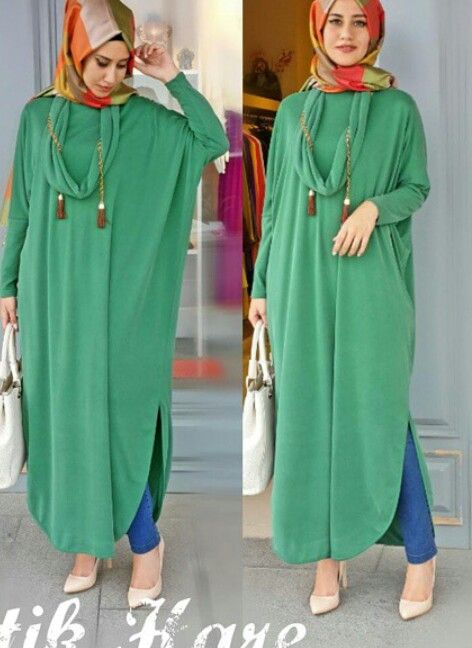 Long green shirt with printed hijab