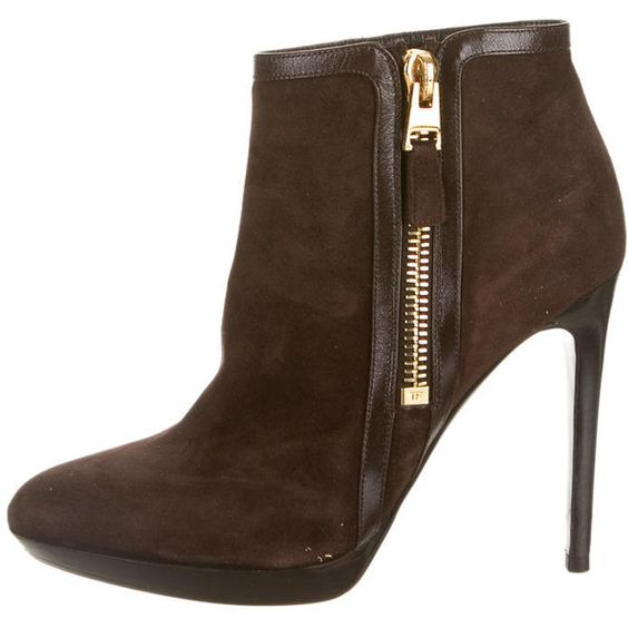 Pre-owned Tom Ford Booties ($425) ❤ liked on Polyvore featuring shoes, boots, ankle booties, brown, brown platform boots, zipper boots, suede booties, platform boots and suede platform booties