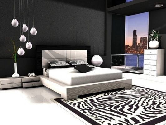 Contemporary black and white bedroom design sleek and for Black and white modern bedroom ideas