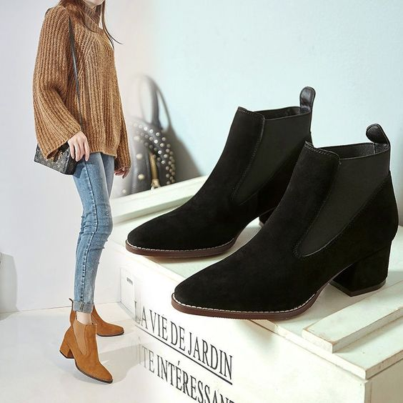 Retro Womens Suede Pointed Toe Block Mid Heels Cowboy Pull On Chelsea Ankle Boot